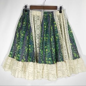 Pitchfork Brand Vintage Metalic Paisley Lace Skirt